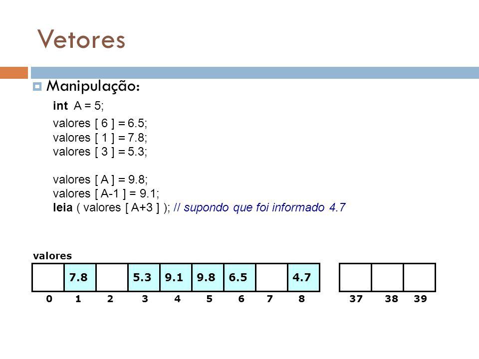 Vetores Manipulação: int A = 5; valores [ 6 ] = 6.5;
